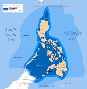 Philippines and the Spratly Islands - Territorial map of the Philippines, showing internal waters, territorial sea, disputed territory, international treaty limits and exclusive economic zone.