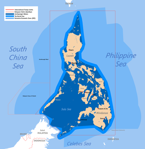 The exclusive economic zone of the Philippines shown in the lighter blue shade, with Archepelagic Waters in the darkest blue Ph Territorial Map.png