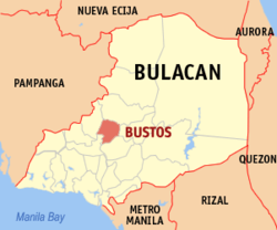 Map of Bulakan showing the location of Bustos.