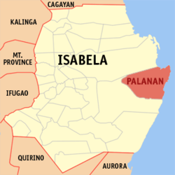 Map of Isabela showing the location of Palanan
