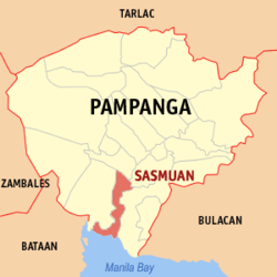 Map of Pampanga showing the location of Sasmuan