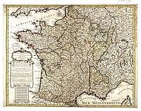 Philippe Buache Carte de France divisee suivant les quatre departements de Messieurs les secretaires dEtat 07710637