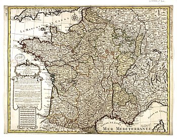 Map of France after the death of Louis XIV