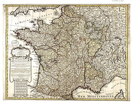 Map of France after the death of Louis XIV Philippe Buache Carte de France divisee suivant les quatre departements de Messieurs les secretaires dEtat 07710637.jpg