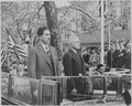 Photograph of President Truman and President Miguel Aleman of Mexico at a welcoming ceremony at the District Building... - NARA - 199540.tif