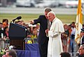 Photograph of President William J. Clinton and Pope John Paul II at an Arrival Ceremony at Stapleton International Airport in Denver, Colorado - NARA - 3386203.jpg