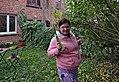 Pink human holding a hand saw in Auderghem, Belgium (DSCF2360).jpg