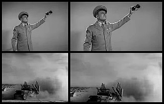 Plan 9 from Outer Space - Two adjoining shots, in open matte and 1.85:1. The top image was composed for widescreen, the bottom is military stock footage that was not.