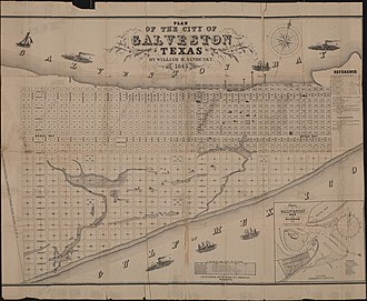 Galveston, Texas - Plan of the City of Galveston, Texas (circa 1845)