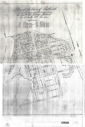 Bathurst, New Brunswick - Plan of the Town of Bathurst, New Brunswick as it appeared in November 1828. The Nepisiguit River mouth is off to the right.
