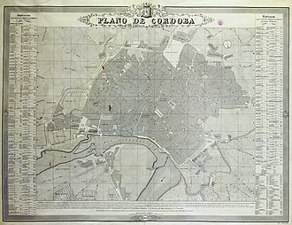 Córdoba, Spain - A city map of Córdoba, Andalusia in 1851 (Spanish language edition)