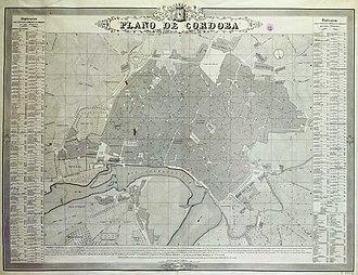 Córdoba, Spain - A city map of Córdoba, Andalusia in 1851 (Spanish language edition)