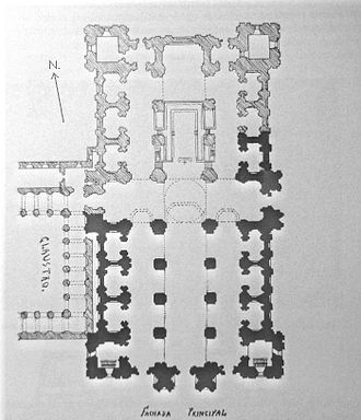 Valladolid Cathedral - Present church outlined in black; hatchmarks delineate entire plan, and demonstrate the planned three naves and apses.