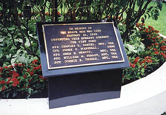 Embassy of the United States, Saigon - Plaque commemorating U.S. soldiers who died defending the Embassy during the Tet Offensive