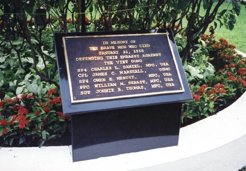 Plaque commemorating the Marine and 4 MPs who died defending the U.S. Embassy Saigon on 31 January 1968