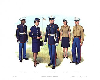 "Uniforms of the United States Marine Corps - Enlisted Blue Dress Uniform. From left to right: ""B"",""B"",""A"",""D"",""C"""