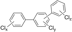 Polychlorinated terphenyl - General chemical structure of polychlorinated triphenyls where 0≤x≤5 and 0≤y≤4 and 0≤z≤5