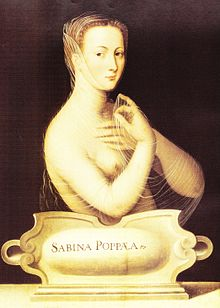 "The upper body, unclothed, of a young woman carrying a thin transparent cloth. She has tight curled hair swept from her face, and is facing towards the left although her eyes look directly from the painting. A plaque in front of her carries the words ""Sabina Poppea""."