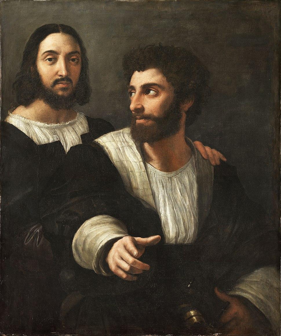 Portrait de l'artiste avec un ami, by Raffaello Sanzio, from C2RMF retouched