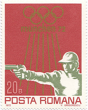 Romania at the 1972 Summer Olympics - Shooting at the 1972 Summer Olympics on a Romanian stamp