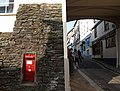 Postbox and busker, Totnes - geograph.org.uk - 1507030.jpg