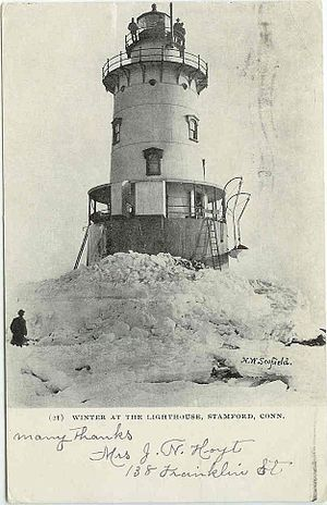 Stamford Harbor Ledge Light - Winter scene, from a postcard mailed in 1906