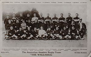 Jack Hickey (rugby) - Hickey front row 2nd from right, with the 1908 Wallaby tour squad
