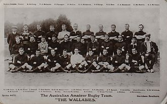 Chris McKivat - McKivatt middle row 2nd from left, with the 1908 Wallaby tour squad