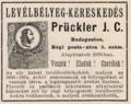 Prückler J. C. bélyegkereskedés reklámja 1895.PNG