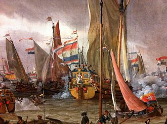 Flag of Russia - Abraham Storck. Practice battle on the river IJ in honor of Peter I, September 1697. 1700.