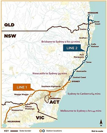 Preferred alignment (2013) of Australian east coast high speed rail system.jpg