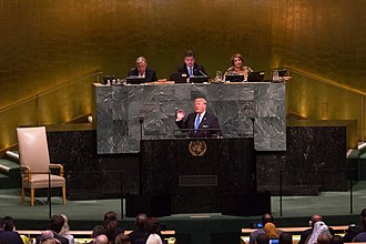2017–18 North Korea crisis - U.S. President Donald Trump giving his address at the 72nd Session of the United Nations General Assembly