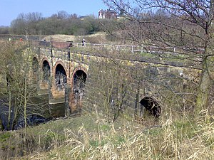 Listed buildings in Kearsley - Image: Prestolee aqueduct from riverbank