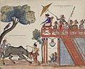 Prince Raden Jaka Tingkir killing a buffalo under watch of the Sultan of Demak and his retinue.jpg