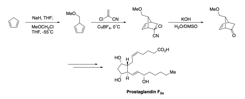 Diels-Alder in the total synthesis of prostaglandin F2α by E. J. Corey