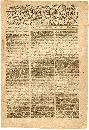 William Goddard (U.S. patriot/publisher) - Image: Providence Gazzette Constitution