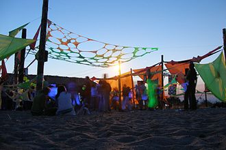 Trance music - Psychedelic trance culture of KaZantip in 2006, showing the decorations common at trance music events.