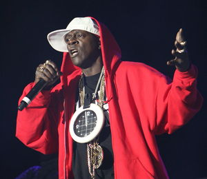 Hype man - American rapper Flavor Flav hyping up a crowd in May 2008.