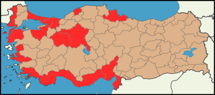 Public park forums' map by the provinces in Turkey, during the 2013 protests in Turkey. Public Park Forum Provinces in Turkey, 2013 protests in Turkey.png