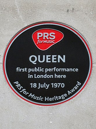 Queen (band) - PRS for Music heritage award commemorating Queen's first performance, Prince Consort Road, London