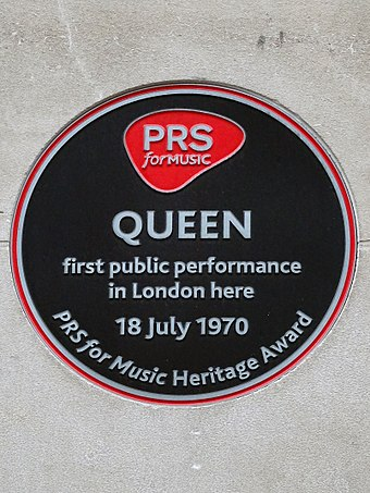 PRS for Music heritage award commemorating Queen's first performance, Prince Consort Road, London Queen First Public Performance Here 18 July 1970.jpg
