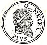 Портрет Квинта Цецилия Метелла Пия из книги Гийома Руйе «Promptuarii Iconum Insigniorum» (1553)