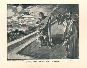 Quo Vadis (novel) - Nero and the burning of Rome, Altemus Edition, 1897. Illustration by M. de Lipman.