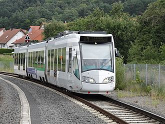 Tram-train - Kassel RegioTram dual mode diesel/electric Alstom RegioCitadis approaching Wolfhagen using diesel power, on main-line railway