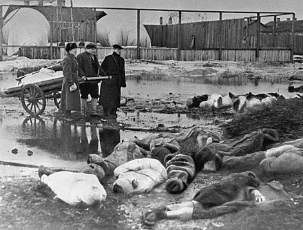 Three men burying victims of Leningrad's siege, in which about 1 million civilians died RIAN archive 216 The Volkovo cemetery.jpg