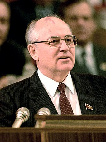 Mikhail Gorbachev, General Secretary of the Communist Party of the Soviet Union from 1985 until 1991 RIAN archive 850809 General Secretary of the CPSU CC M. Gorbachev (crop).jpg