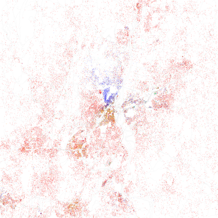 Map of racial distribution in Hartford, 2010 U.S. Census. Each dot is 25 people: White, Black, Asian, Hispanic or other (yellow) Race and ethnicity 2010- Hartford (5559855047).png