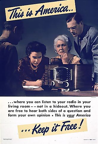Golden Age of Radio - Radio-related World War II propaganda poster