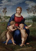Kvinne i middelalderkjole med to små barn og en gullfinch