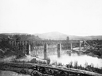 Etowah River - Railroad Bridge across Etowah River, circa 1865